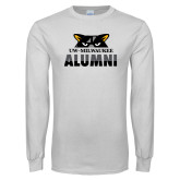 White Long Sleeve T Shirt-Milwaukee Alumni Top of Face