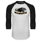 White/Black Raglan Baseball T Shirt-Official Logo
