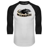 White/Black Raglan Baseball T Shirt-Official Logo