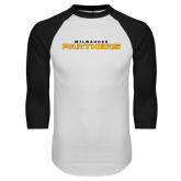 White/Black Raglan Baseball T Shirt-Milwaukee Stacked