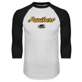 White/Black Raglan Baseball T Shirt-Panthers Script