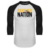 White/Black Raglan Baseball T Shirt-Panther Nation