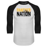 White/Black Raglan Baseball T Shirt-Panther Nation