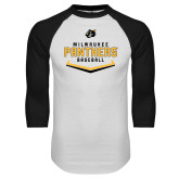 White/Black Raglan Baseball T Shirt-Baseball Abstract Plate Design