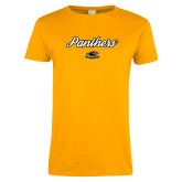 Ladies Gold T Shirt-Panthers Script