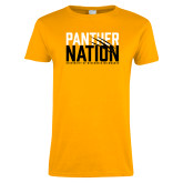 Ladies Gold T Shirt-Panther Nation