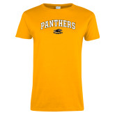 Ladies Gold T Shirt-Arched Panthers