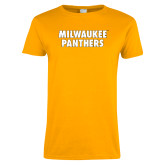 Ladies Gold T Shirt-Milwaukee Panthers Word Mark