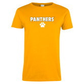 Ladies Gold T Shirt-Panthers w/ Paw