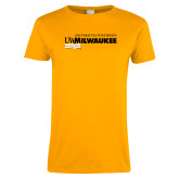 Ladies Gold T Shirt-Primary University Mark
