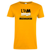 Ladies Gold T Shirt-University Mark Stacked