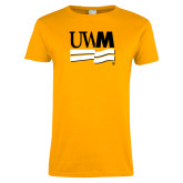 Ladies Gold T Shirt-University Banner