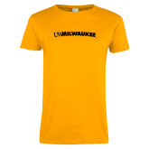 Ladies Gold T Shirt-Arched UW Milwaukee