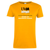 Ladies Gold T Shirt-FreshWater Sciences