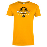 Ladies Gold T Shirt-Soccer Ball Design