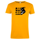 Ladies Gold T Shirt-Milwaukee Alumni Right Side Face