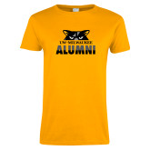 Ladies Gold T Shirt-Milwaukee Alumni Top of Face