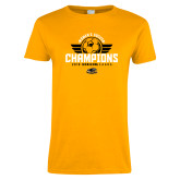 Ladies Gold T Shirt-2019 Womens Soccer Champs