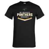 Black T Shirt-Baseball Abstract Plate Design