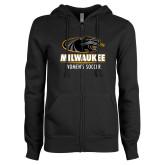 ENZA Ladies Black Fleece Full Zip Hoodie-Womens Soccer