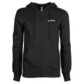 ENZA Ladies Black Fleece Full Zip Hoodie-UW Milwaukee