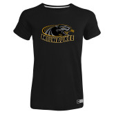 Ladies Russell Black Essential T Shirt-Official Logo