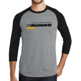 Grey/Black Tri Blend Baseball Raglan-Primary University Mark