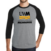 Grey/Black Tri Blend Baseball Raglan-University Mark Stacked