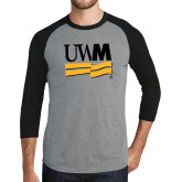 Grey/Black Tri Blend Baseball Raglan-University Banner