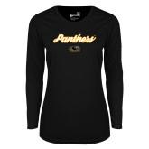 Ladies Syntrel Performance Black Longsleeve Shirt-Panthers Script
