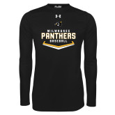 Under Armour Black Long Sleeve Tech Tee-Baseball Abstract Plate Design