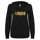 ENZA Ladies Black V Notch Raw Edge Fleece Hoodie-2018 Womens Soccer Champions