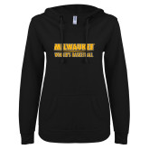 ENZA Ladies Black V Notch Raw Edge Fleece Hoodie-Womens Basketball