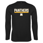 Performance Black Longsleeve Shirt-Baseball Bar Design