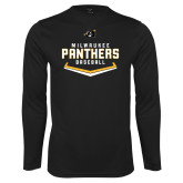 Performance Black Longsleeve Shirt-Baseball Abstract Plate Design