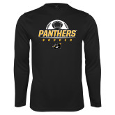 Performance Black Longsleeve Shirt-Soccer Ball Design