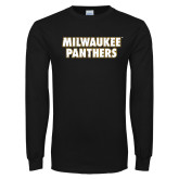 Black Long Sleeve T Shirt-Milwaukee Panthers Word Mark