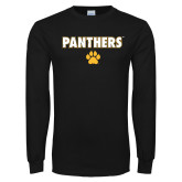 Black Long Sleeve T Shirt-Panthers w/ Paw
