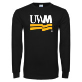 Black Long Sleeve T Shirt-University Banner