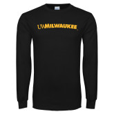 Black Long Sleeve T Shirt-Arched UW Milwaukee