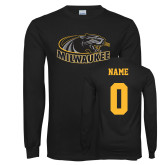 Black Long Sleeve T Shirt-Official Logo, Custom Tee w/ Name and #
