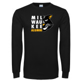 Black Long Sleeve T Shirt-Milwaukee Alumni Right Side Face