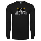 Black Long Sleeve T Shirt-Milwaukee Alumni Top of Face