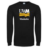 Black Long Sleeve T Shirt-UWN Waukesha Vertical