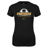 Ladies Syntrel Performance Black Tee-Soccer Ball Design