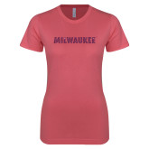 Next Level Ladies SoftStyle Junior Fitted Pink Tee-Milwaukee Wordmark Pink Glitter