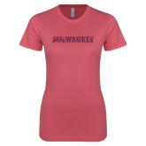 Next Level Ladies SoftStyle Junior Fitted Pink Tee-Milwaukee Wordmark Pink Glitter