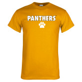 Gold T Shirt-Panthers w/ Paw