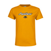 Youth Gold T Shirt-Panthers Script