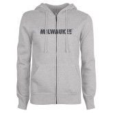 ENZA Ladies Grey Fleece Full Zip Hoodie-Milwaukee Wordmark Graphite Soft Glitter